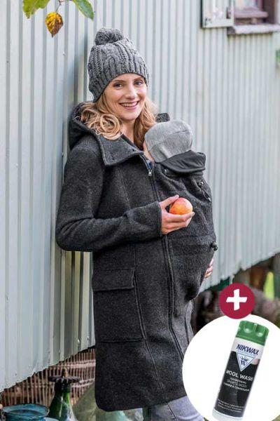 Mamalila KMS Kapuzen-Tragemantel Umstandsmantel anthrazit + Nikwax Wool Wash 300 ml