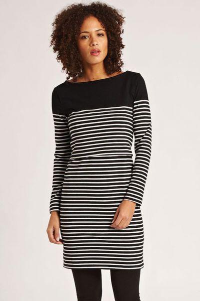 JoJo Maman Bébé B4681 Stillkleid black/ecru stripe