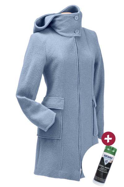 Mamalila KMS Kapuzen-Tragemantel Umstandsmantel misty blue + Nikwax Wool Wash 300 ml