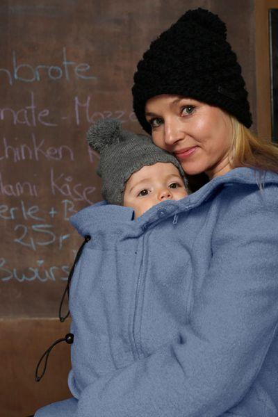 Mamalila Vienna misty blue manteau capuche maternité et de portage 4en1