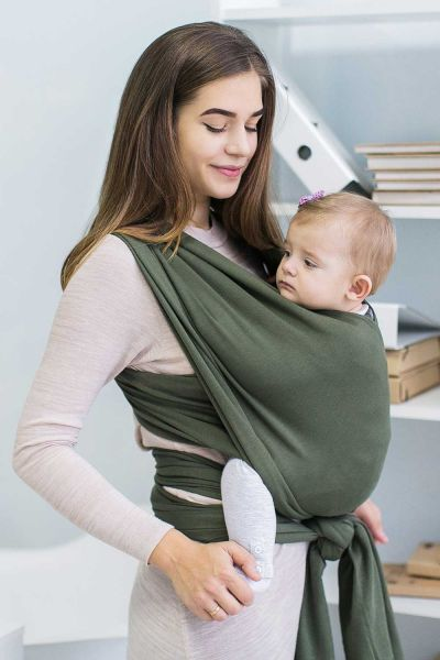 Love&Carry Stretchy Baby Wrap Olive