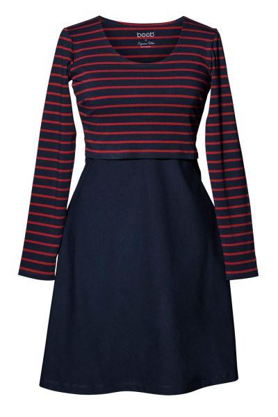 Boob Stillkleid Umstandskleid 1530 midnight blue/marsala stripe
